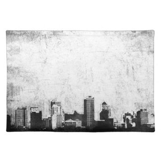 Grungy city background in black and white placemat