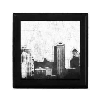 Grungy city background in black and white small square gift box