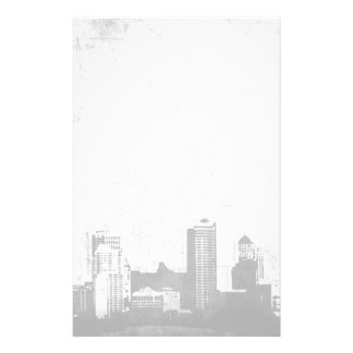 Grungy city background in black and white stationery