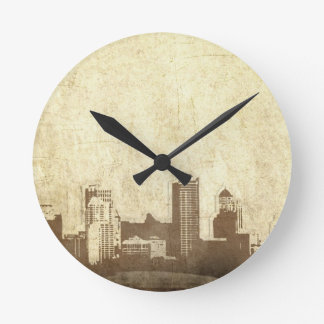 Grungy city background round clock