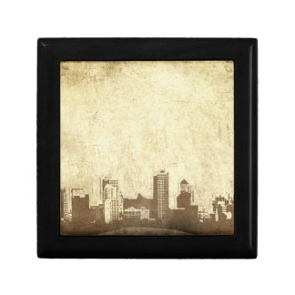 Grungy city background small square gift box