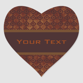 Grungy Crimson Pattern Heart Stickers
