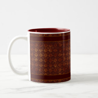Grungy Crimson Pattern Two-Tone Coffee Mug