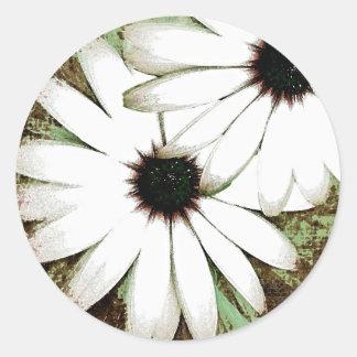 grungy daisys classic round sticker