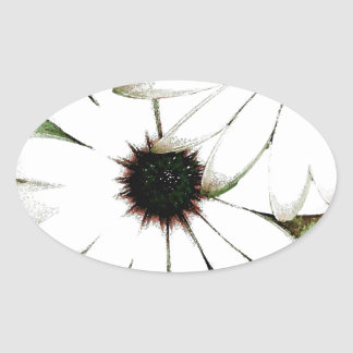 grungy daisys oval sticker