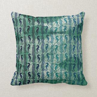 Grungy Deep Green Seahorses Ocean Beach Cushion