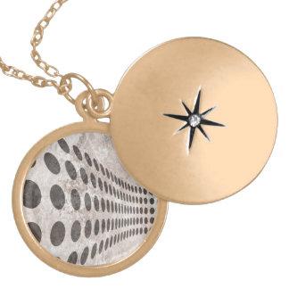 Grungy Dots Design Round Locket Necklace