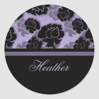 Grungy Floral Decadence Stickers, Lavender Round Sticker