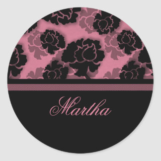 Grungy Floral Decadence Stickers, Pink