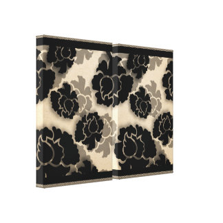 Grungy Floral Decadence Wrapped Canvas, Ivory Stretched Canvas Print