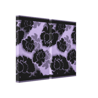 Grungy Floral Decadence Wrapped Canvas, Lavender Stretched Canvas Print