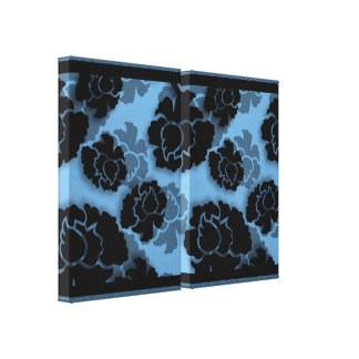 Grungy Floral Decadence Wrapped Canvas, Light Blue Stretched Canvas Print