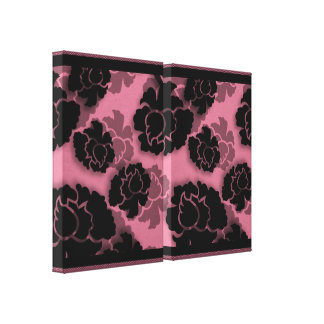 Grungy Floral Decadence Wrapped Canvas, Pink Gallery Wrapped Canvas