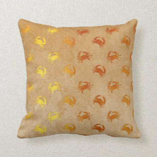 Grungy Fossils Crab Golden Foil Ocean Beach Cushion