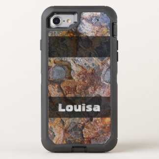 Grungy Geology Rusty Rock Structure any Text OtterBox Defender iPhone 7 Case