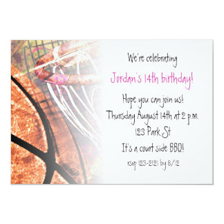 Grungy Girly Basketball 13 Cm X 18 Cm Invitation Card
