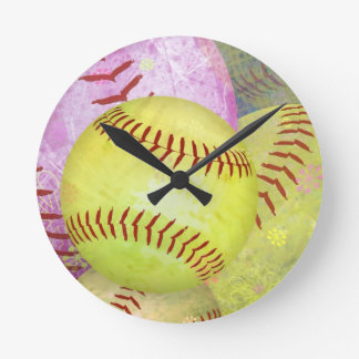 Grungy Girly Softball Clock