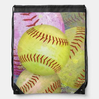 Grungy Girly Softball Drawstring Bag