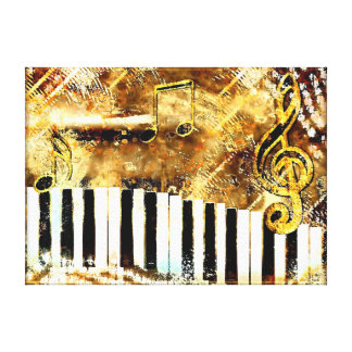 Grungy Gold piano music wrapped canvas Canvas Print