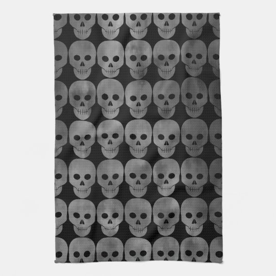 Grungy gothic skulls Halloween kitchen decor Tea Towel