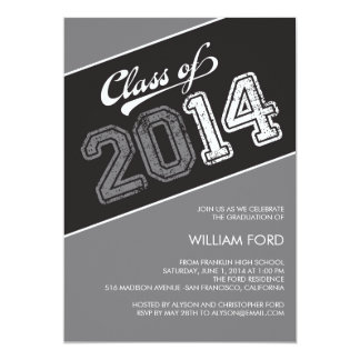 "Grungy Graduate 2014 Graduation Invitation - Gray 5"" X 7"" Invitation Card"