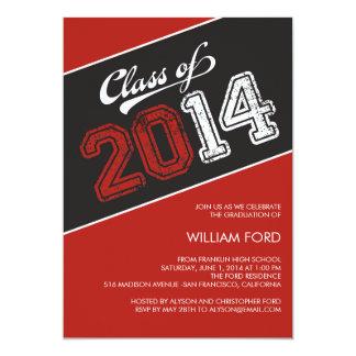 Grungy Graduate 2014 Graduation Invitation - Red Card