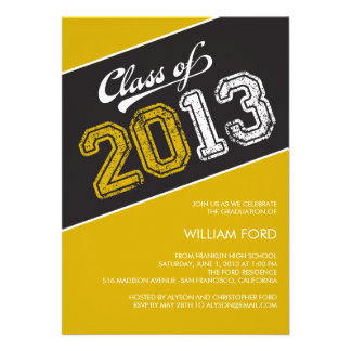Grungy Graduate Graduation Invitation - Mustard Custom Invitations