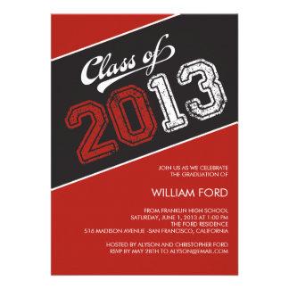 Grungy Graduate Graduation Invitation - Red Custom Invites