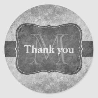 Grungy gray personalized monogram thank you round sticker