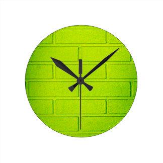 Grungy Green Brick Wall Clock