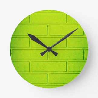 Grungy Green Brick Wall Round Wall Clocks