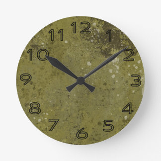 Grungy Green Cement Textured Round Wall Clock