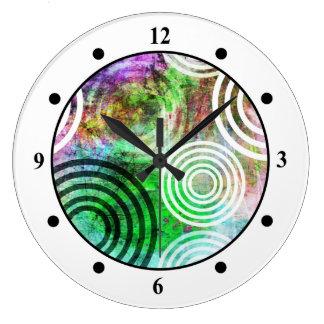 Grungy Green Circle Pattern Clocks