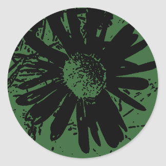 Grungy Green Daisy Round Sticker