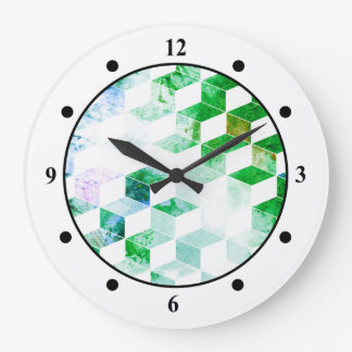 Grungy Green Geometric Box Pattern Clocks