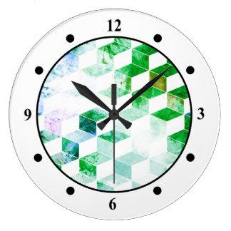 Grungy Green Geometric Box Pattern Clocks