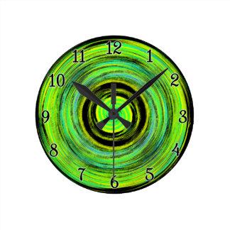 Grungy Green Spiral Wall Clock