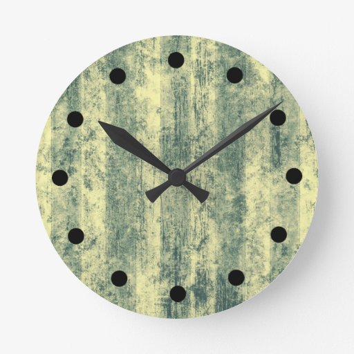 Grungy Green Stripes Round Clocks