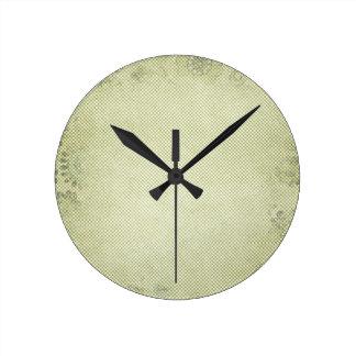 Grungy Halftone Green Background Round Clocks