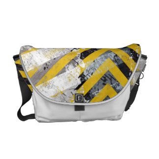 Grungy Hazard Stripes Commuter Bags