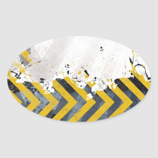 Grungy Hazard Stripes Oval Sticker