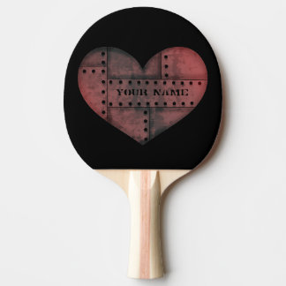 Grungy industrial punk heart ping pong paddle