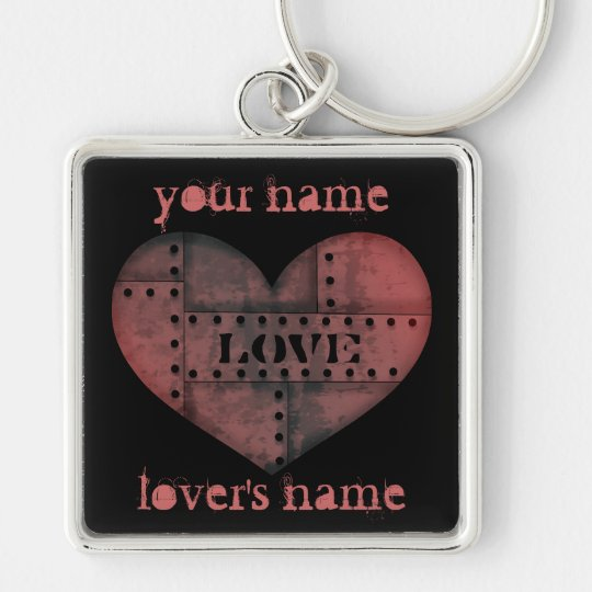 Grungy industrial punk heart Valentines Day Silver-Colored Square Key Ring