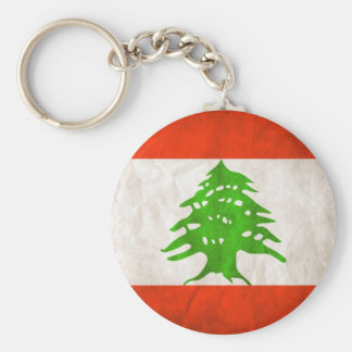 Grungy Lebanon Flag Basic Round Button Key Ring