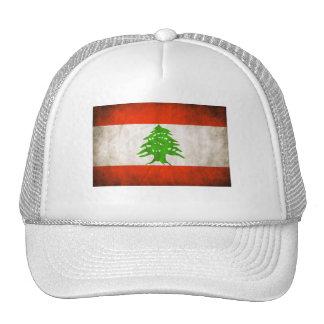 Grungy Lebanon Flag Mesh Hats