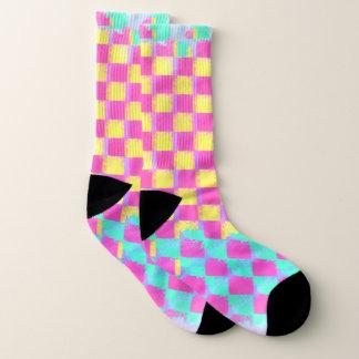 Grungy Lemonberry Mint Checkerboard Pattern Socks