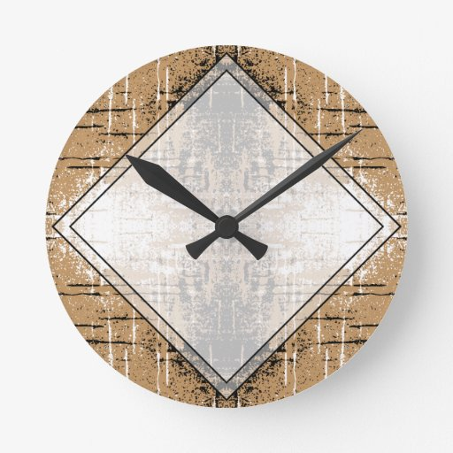 Grungy Look Brown Abstract. Clock