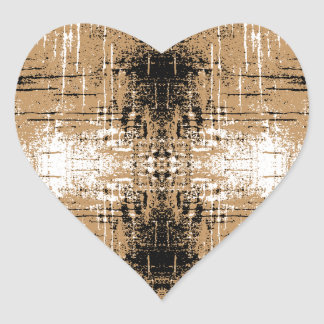 Grungy Look Brown Abstract. Heart Sticker