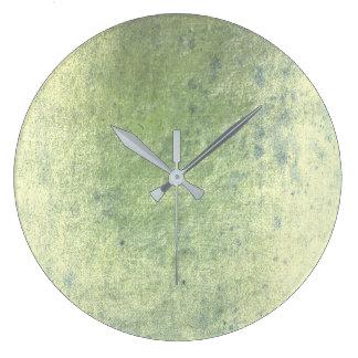 Grungy Mint Green Silver Metallic Minimalism Clock