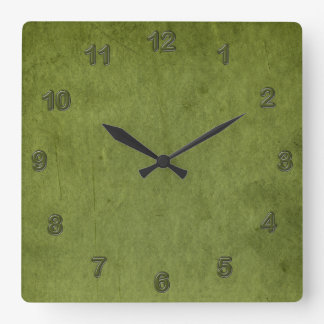 Grungy Moss Green Square Wall Clock